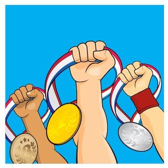 Levantando medallas de victoria