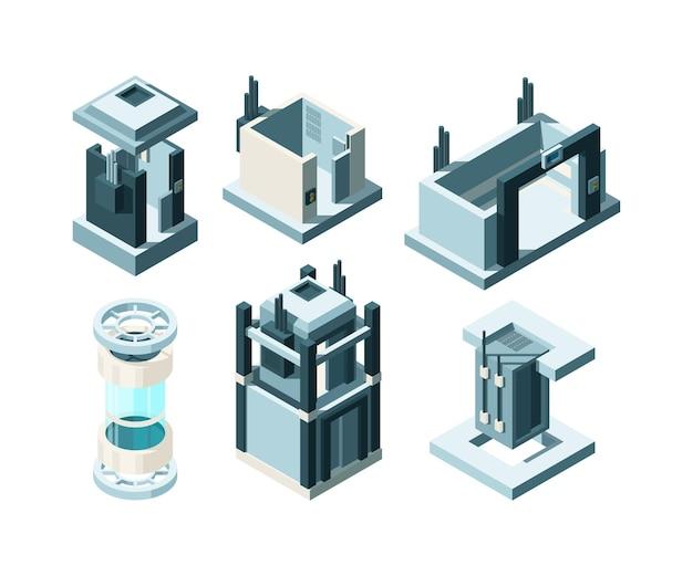 Levante isométrico. puertas de acero, entrada subterránea, cabina de ascensor, interior, puerta automática, colección.
