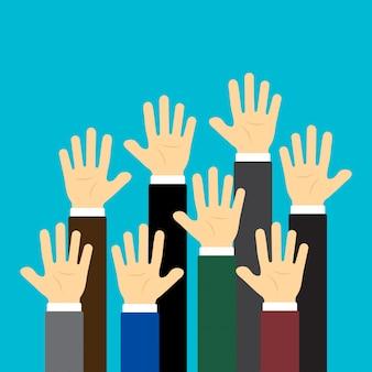 Levantó las manos. concepto de negocio. ilustración