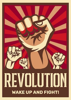 Levantó el puño vintage revolución constructivista comunismo promocionando cartel que simboliza la unidad solidaridad con la gente oprimida lucha