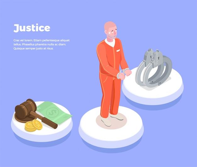 Ley justicia fondo isométrico con iconos juez símbolos pulseras altamente litigioso prisionero e ilustración de descripción de texto editable