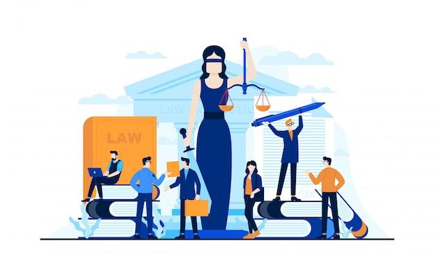 Ley justicia ilustración plana