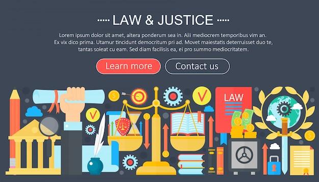 Ley y justicia infografía plantilla de diseño.