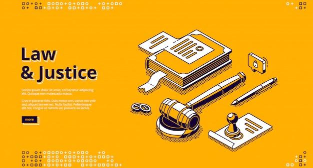 Ley de justicia y legislación isométrica de página de aterrizaje