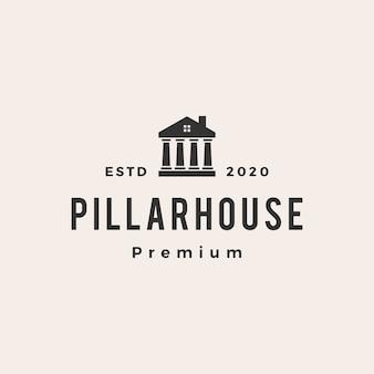 Ley, pilar, casa, vendimia, logotipo, icono, ilustración
