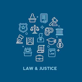 Ley y servicios de abogado conjunto de iconos