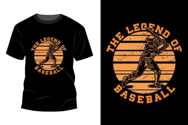 La leyenda del diseño de maqueta de camiseta de béisbol retro vintage