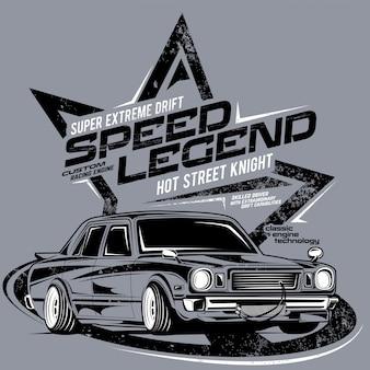 Leyenda de la velocidad, ilustración de un coche súper clásico.