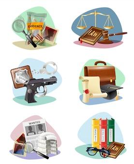 Leyes de símbolos de justicia colección de iconos de atributos