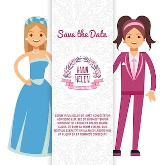 Lgbt plantilla de tarjeta de invitación de boda lésbica con personaje de dos mujeres