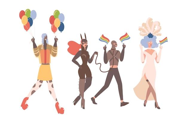 Lgbtq orgullo vector ilustración plana hombres y mujeres queer en