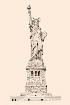 Libertad iluminando el mundo. estatua en nueva york américa. dibujo a lápiz sobre fondo beige.