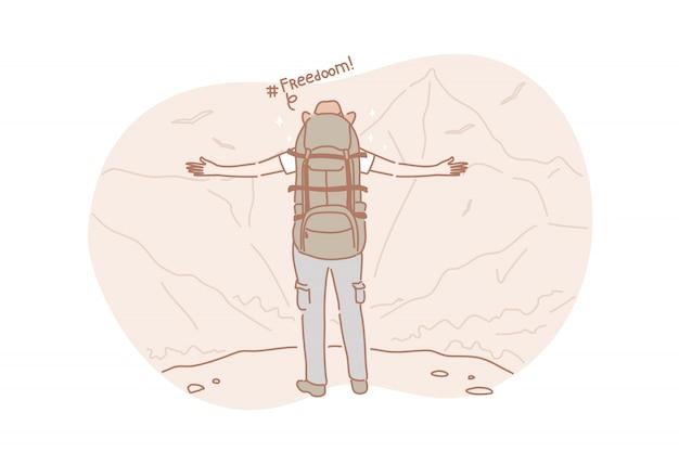 Libertad, viaje, concepto de senderismo