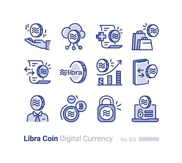 Libra coin vector icon collection
