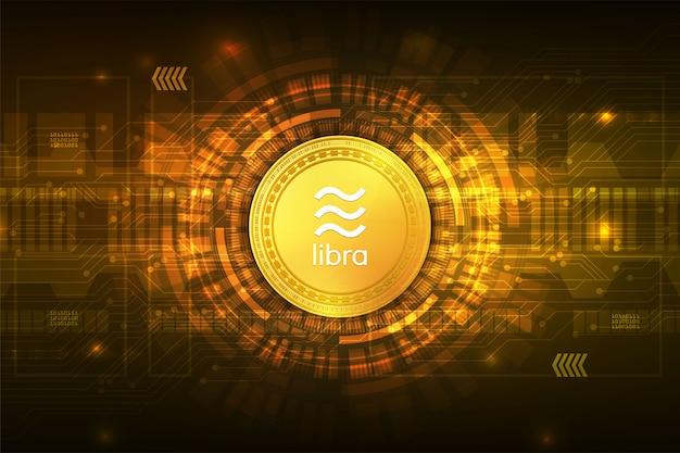 Libra criptomoneda moneda digital con resumen de circuito