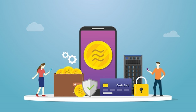 Libra crypto currency con pago de aplicaciones para teléfonos inteligentes y símbolo de icono e icono de finanzas con estilo plano moderno.