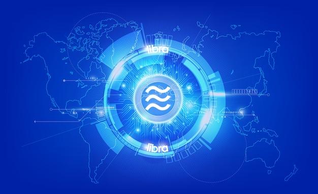 Libra moneda digital, dinero digital futurista sobre fondo azul, tecnología concepto de red mundial, ilustración