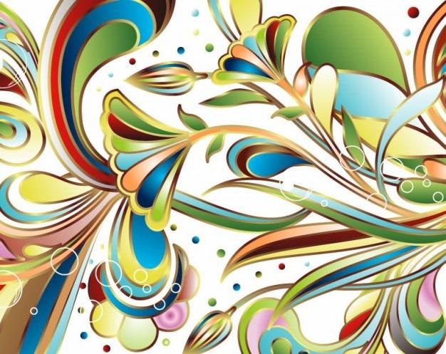 Libre de arte abstracto de color vector floral