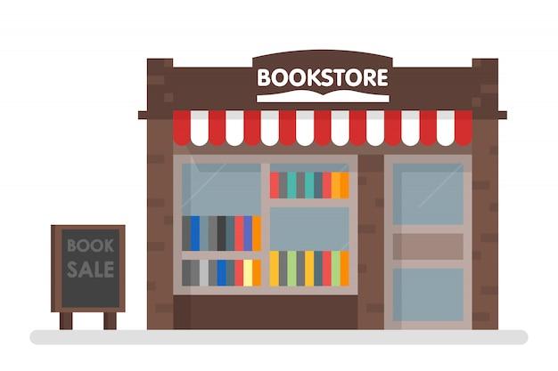 Librería, frente, vector, ilustración