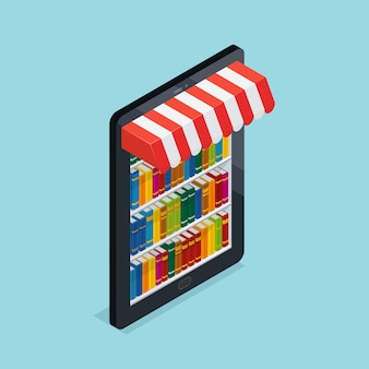 Librería en línea isométrica ilustración
