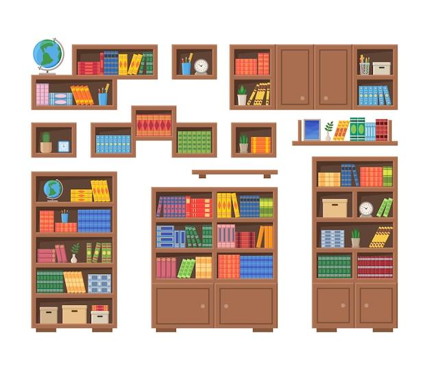 Librerías con libros y otros artículos de oficina. ilustración de vector de estanterías aisladas sobre fondo blanco