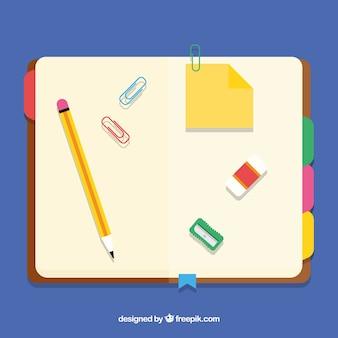 Libreta abierta con lápiz en diseño plano