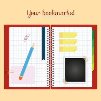 Libreta abierta con marca páginas y otros elementos en diseño plano