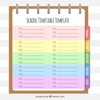 Libreta de anillas con horario escolar