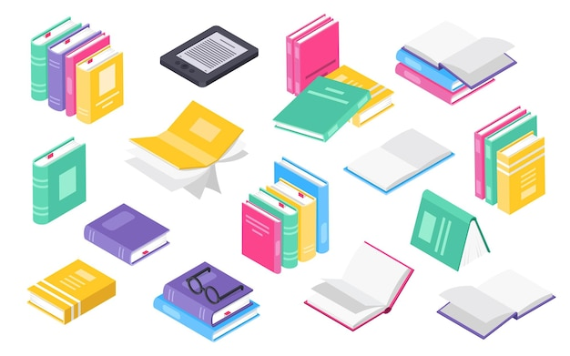 Libro 3d isométrico pilas o montones de libros libros de texto abiertos con conjunto de vectores de icono de libro electrónico de marcador