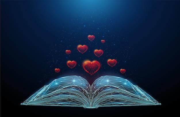 Libro abierto abstracto con corazones voladores. diseño de estilo low poly. fondo geométrico abstracto. estructura de conexión de luz de estructura metálica.