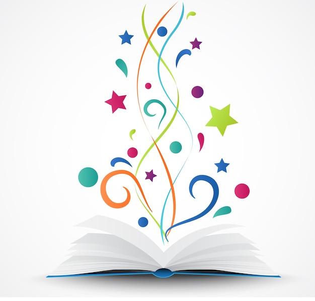 Libro abierto. abstracto con estrella de colores y onda