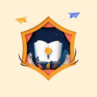 Libro abierto con aprendizaje, educación y explorar el arte de papel de plantilla de fondo.