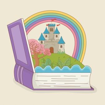 Libro abierto con castillo de cuento de hadas y arco iris.