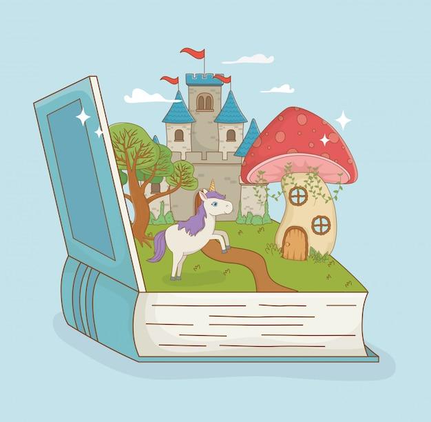 Libro abierto con castillo de cuento de hadas y unicornio.
