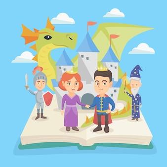 Libro abierto con castillo y personajes de cuento de hadas.