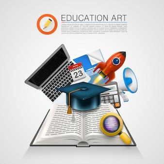 Libro abierto con un conjunto de objetos de arte. ilustración vectorial