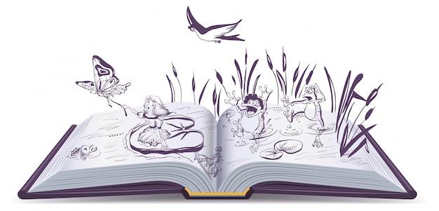 Libro abierto cuento thumbelina