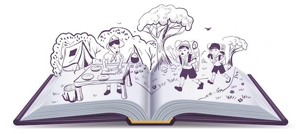 Libro abierto. descanso de verano. scouts en el campamento