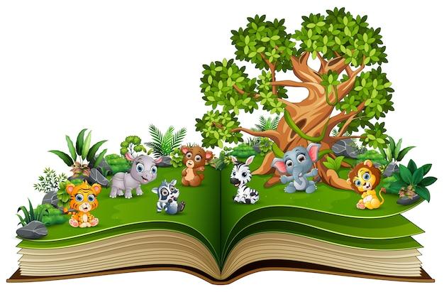 Libro abierto con dibujos animados de animales.