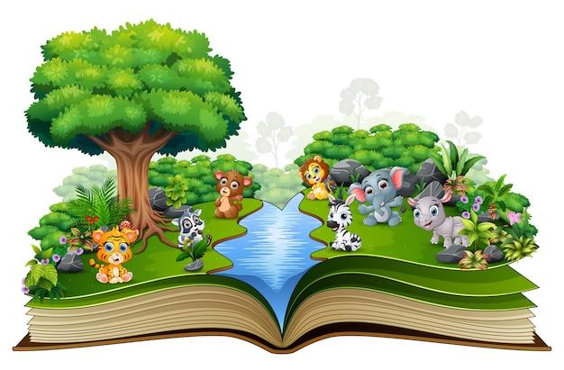 Libro abierto con dibujos de animales de río y bebé.