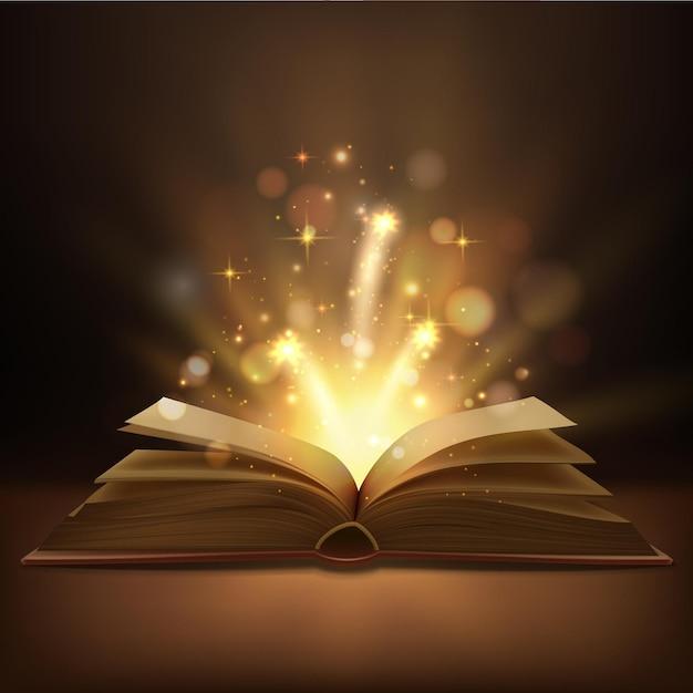 Libro abierto con diseño realista de luces mágicas.