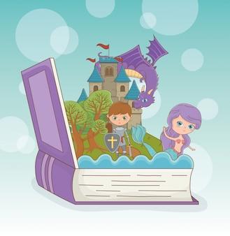 Libro abierto con dragón de cuento de hadas en el castillo con guerrero y sirena