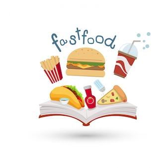 Libro abierto e iconos de comida rápida.