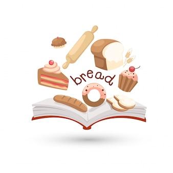 Libro abierto e íconos del pan.