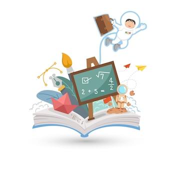 Libro abierto y educación aislado sobre fondo blanco.