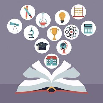 Libro abierto con elementos iconos de la escuela flotante