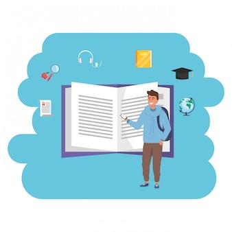 Libro abierto de estudiante milenario de educación en línea