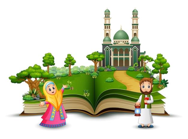 Libro abierto con happy muslim family frente a una mezquita