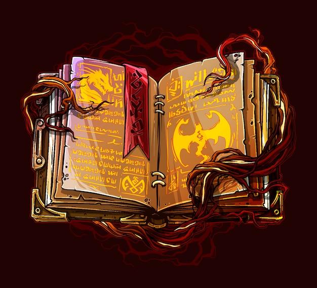 Libro abierto de hechizos mágicos de dibujos animados con raíces de árboles