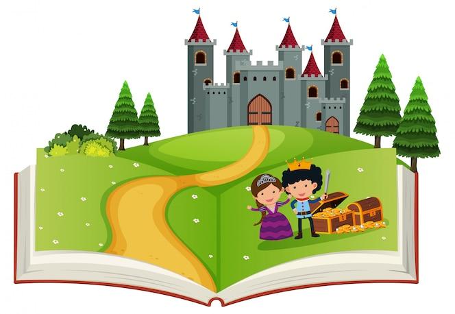 Libro abierto historia de cuento de hadas